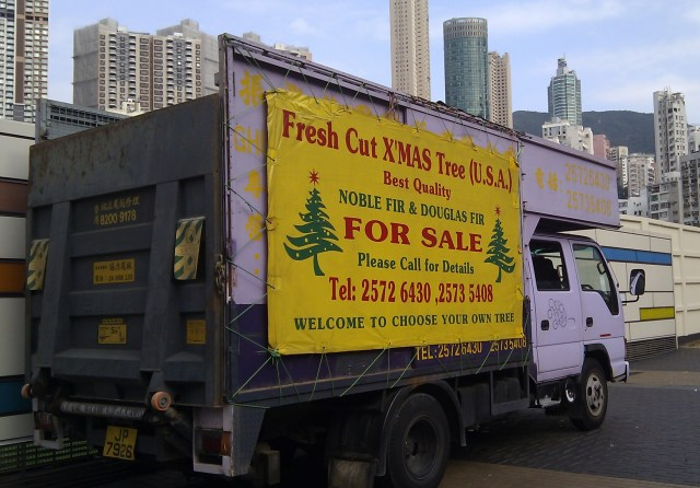 Christmas trees for sale in Happy Valley, Hong Kong