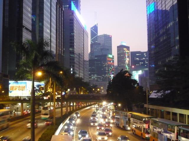 Christmas lights, Gloucester Road, Hong Kong