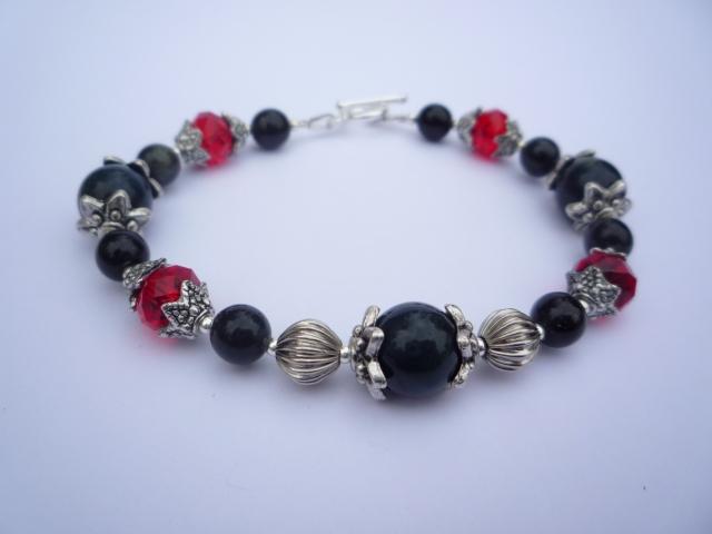 Little Koo blue Tiger's Eye and red Swarovski crystal bracelet