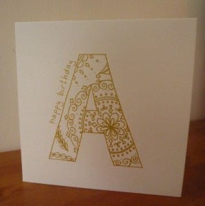 Handmade card patterned letter