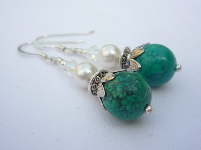 Chyrsocolla and Swarovski pearl earrings