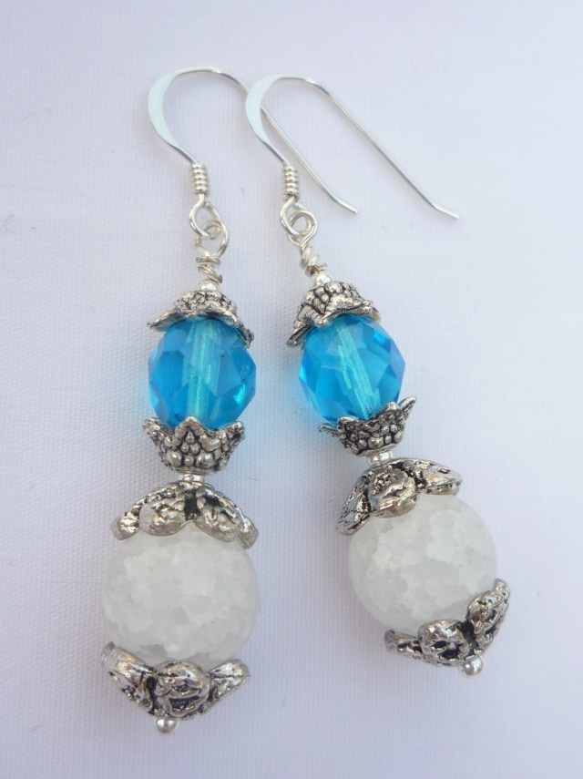 Crackled glass and crystal earrings