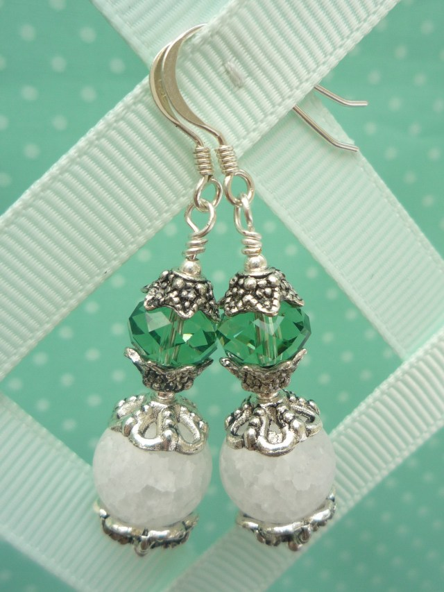 Crackled glass and Swarovski crystal earrings
