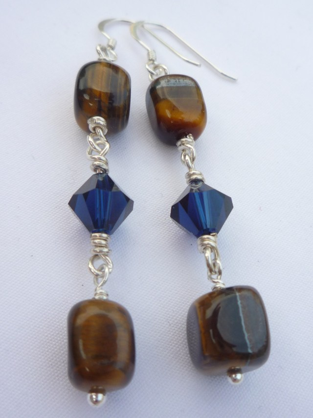 Tiger's eye and Swarovski crystal earrings