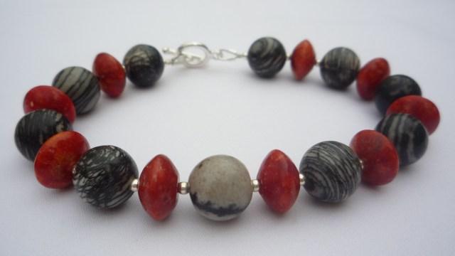 Jasper and coral bracelet