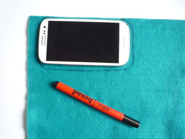 Felt phone pouch marking out