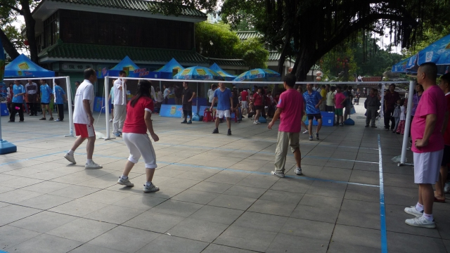 Hacky sack match in Liwan Park