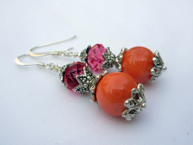 Coral coloured Swarovski crystal and shell pearl silver earrings
