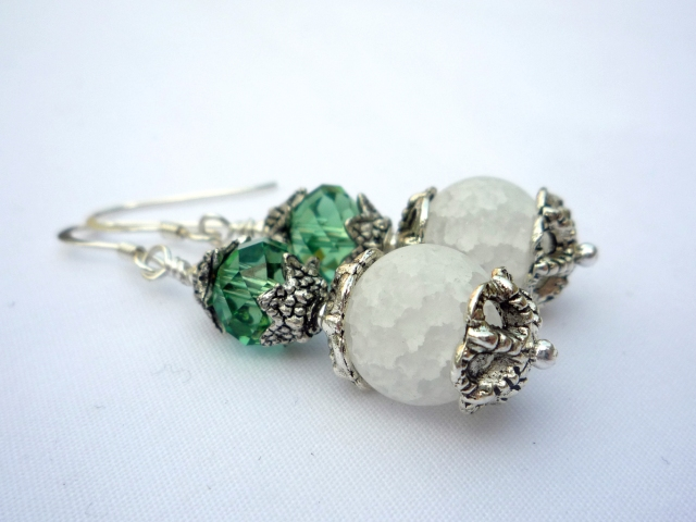 Mint green and white Swarovski crystal silver earrings