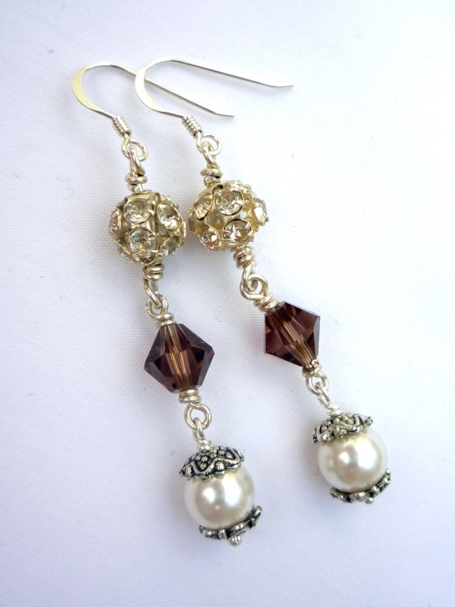 Diamonte, pearl and Swarovski crystal earrings