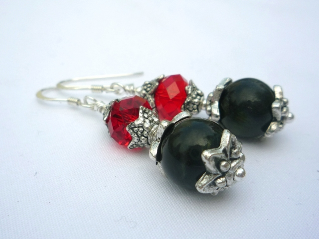 Handmade blue tigers eye and red Swarovski crystal earrings