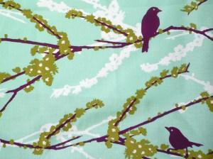 Aviary Plum Green fabric