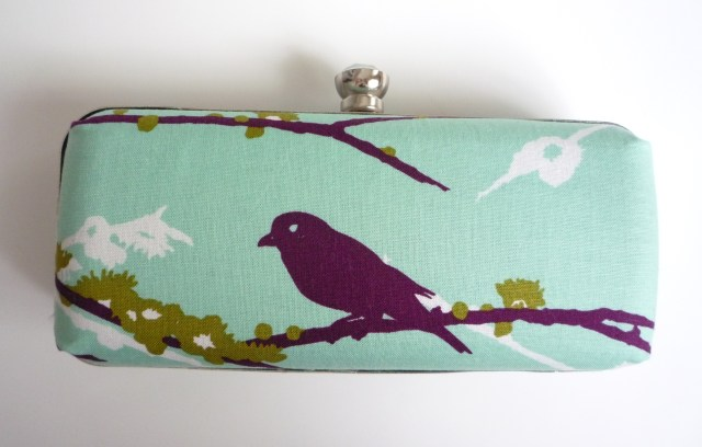 Fabric covered clamshell purse