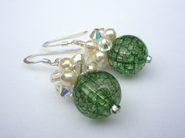 Green cluster earrings with crystals and pearls