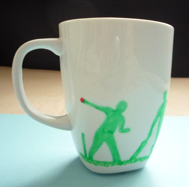 hand decorated cricket mug 1