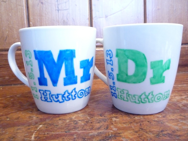hand decorated mr and dr mugs