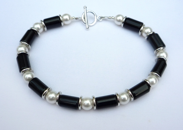 Onyx and pearl art deco style bracelet