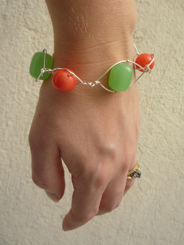 green and coral wire wrapped bracelet