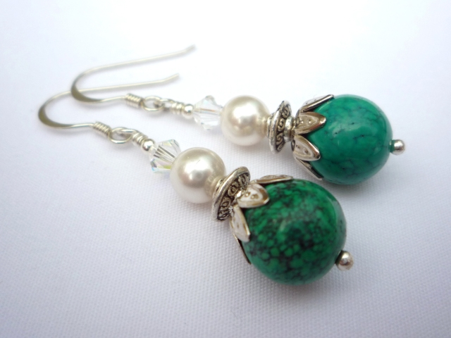 Turquoise chrysocolla and pearl 1920s style earrings