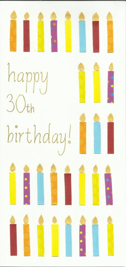 30th birthday candles card