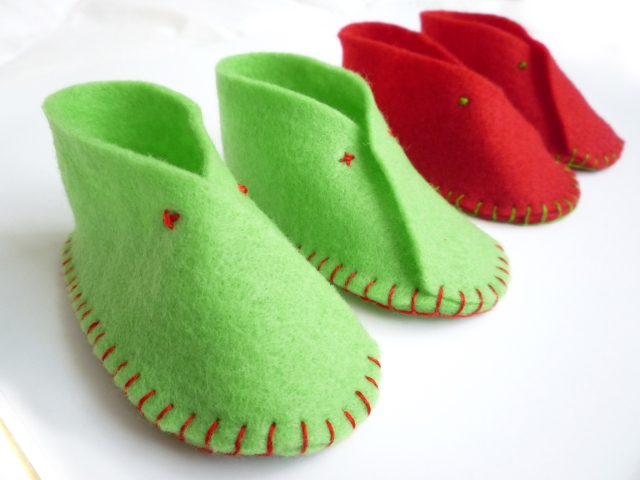 Hand sewn felt baby shoes