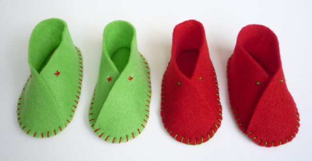 Handmade felt baby shoes