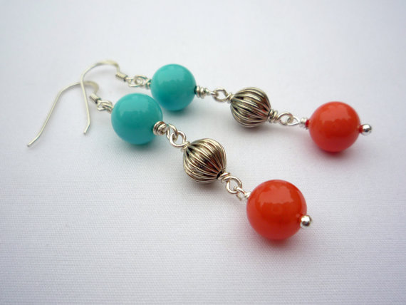Bright turquoise and coral silver earrings
