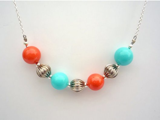 Bright turquoise and coral silver necklace