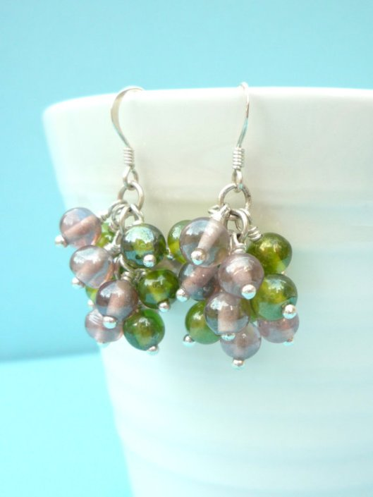 Cluster earrings with green and purple beads