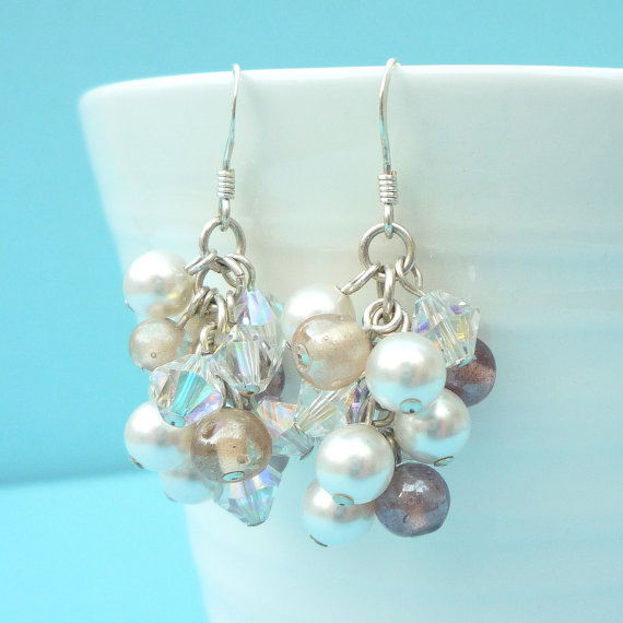 Cluster earrings with purple, pink, pearl and crystal beads
