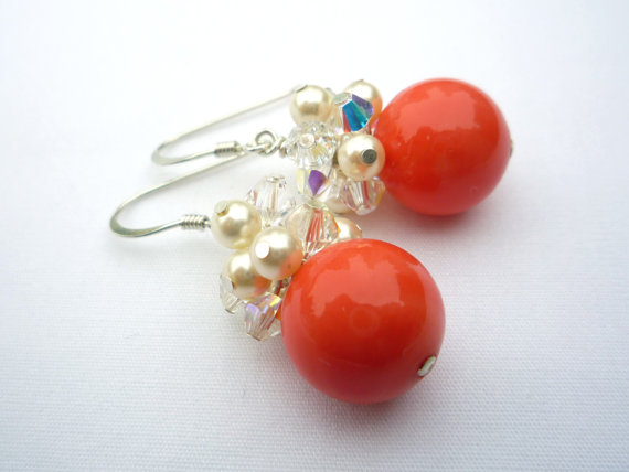Handmade coral coloured cluster earrings with crystals and pearls