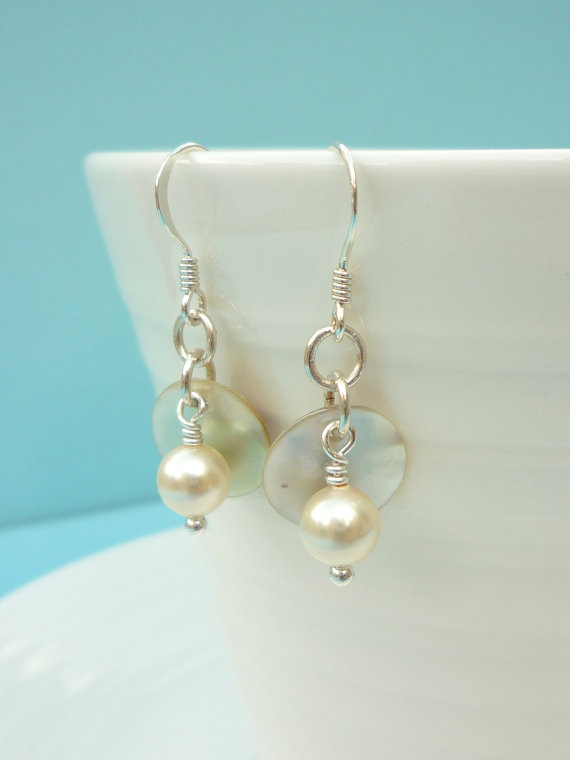 Simple handmade mother of pearl and pearl earrings