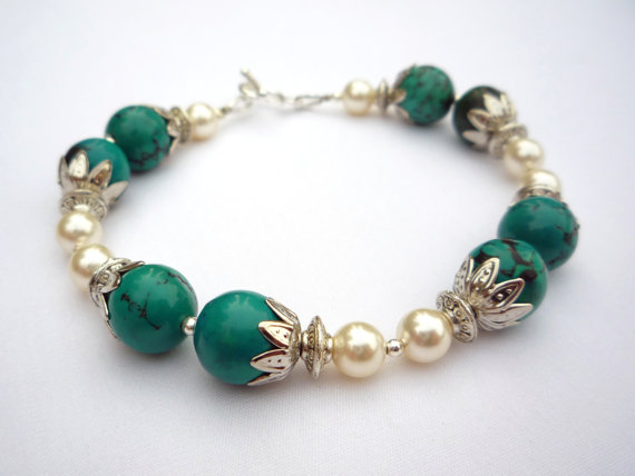 Turquoise chrysocolla and pearl 1920s style bracelet