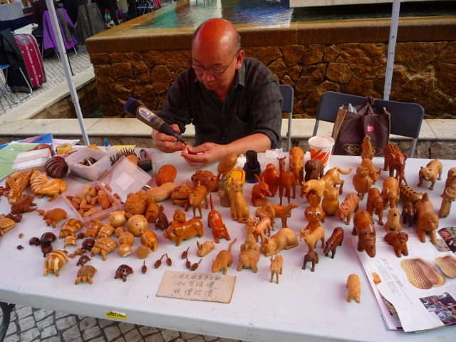 Handmade carved wooden animals