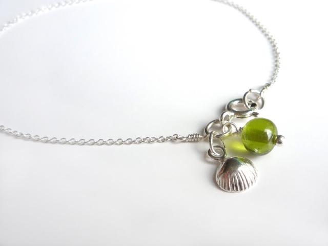 handmade sterling silver charm bracelet - shell