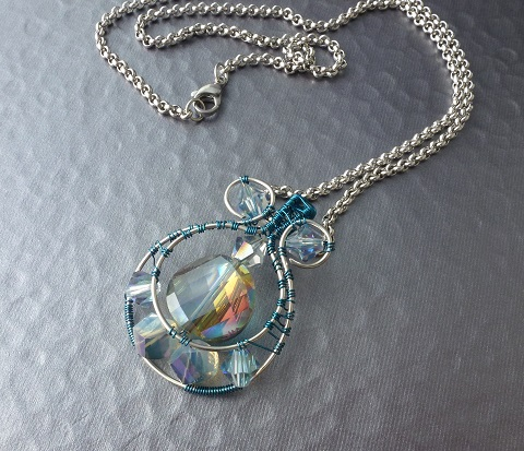 crystal wire wrapped pendant s