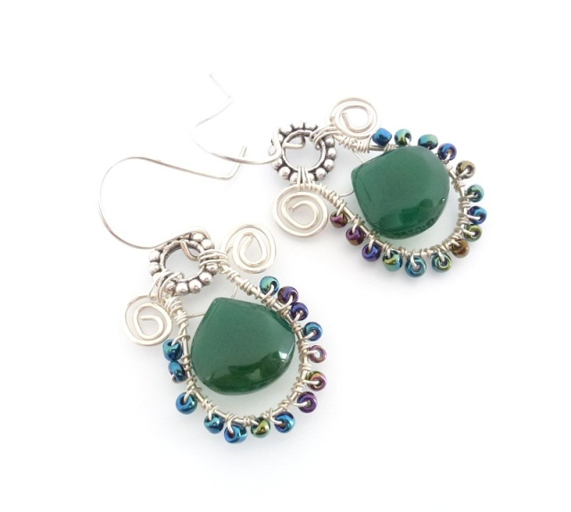 green onyx earrings small
