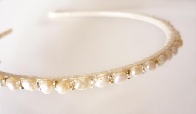 beaded headband with pearls