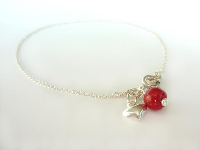 Little Koo sterling silver heart charm bracelet