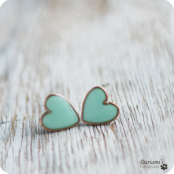 Mint heart stud earrings