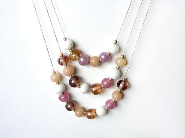 3 layer pink and white beaded sterling silver necklace