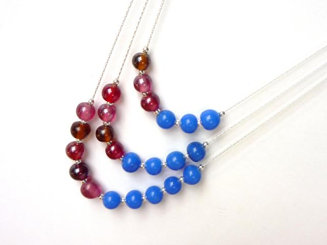 triple layer blue and dark pink sterling silver beaded necklace