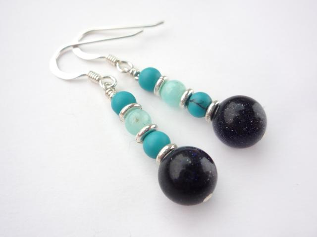 Little Koo - Blue goldstone earrings