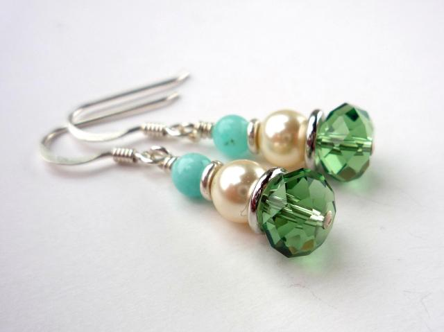 Little Koo - Mint crystal and pearl earrings