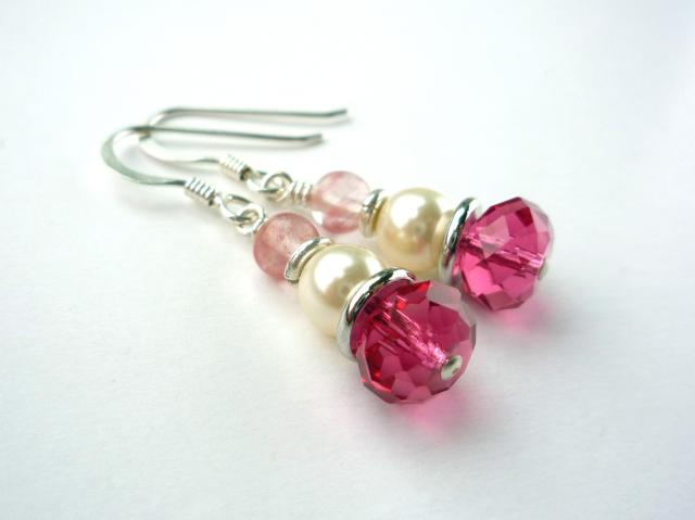 Little Koo - Pink crystal and pearl earrings
