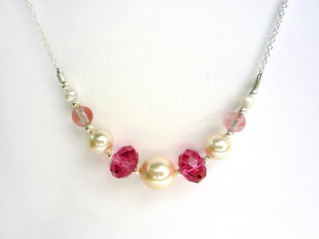 Little Koo - Pink crystal and pearl necklace