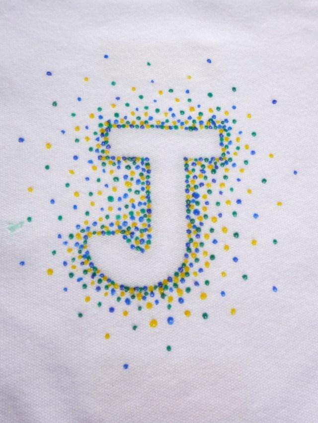 Puff paint monogram onsie