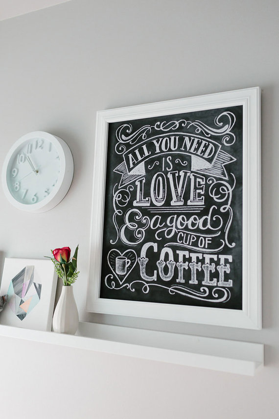 Coffee lover chalkboard print - Lily and Val