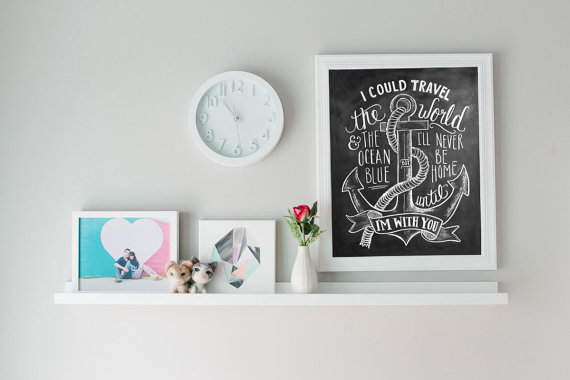 Hand lettered nautical print - Lily and Val