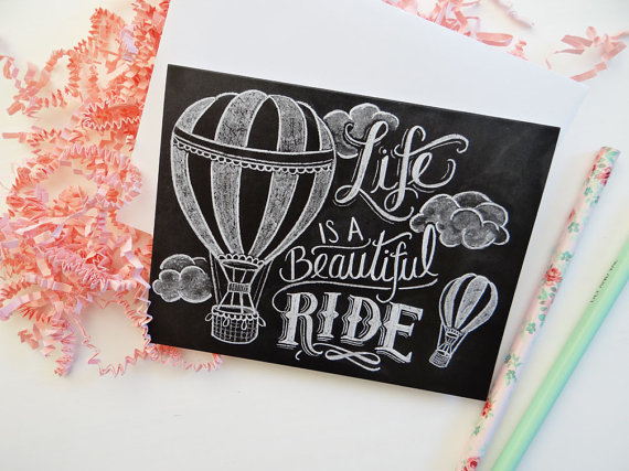 Hot air balloon chalkboard card - Lily and Val